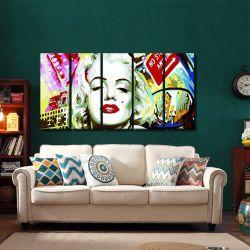 Quadro Decorativo Marilyn Monroe Moderno 140x65 em tecido