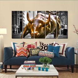 Quadro Decorativo Moderno Touro De Wall Street 140x65