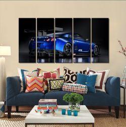 Quadros Decorativos Carro Skyline Azul 65x140cm em Tecido