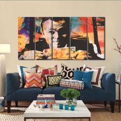 Quadro Decorativo Lobo Wall Street  5 peças 140x65