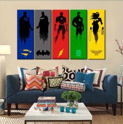 Quadro Decorativo Moderno  Liga Da Justiça Heros5 Peças 150 X 65cm Tecido