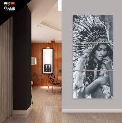 Quadro India Preto e Branco Para Sala Quarto Hall 120x60 Mosaico 3 Peças
