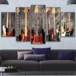 Quadro Decorativo Guitarras 120x63 Em Tecido