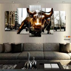 Quadro Decorativo Moderno Touro De Wall Street 130x63