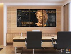Quadro Decorativo Nota De 1 Milhão De Reais 130x60 cm em tecido