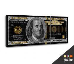Quadro Decorativo Nota De 1 Milhão De Dólares 130x60 cm em tecido