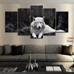 Quadros Decorativos Lobo Branco 63x130mt em Tecido