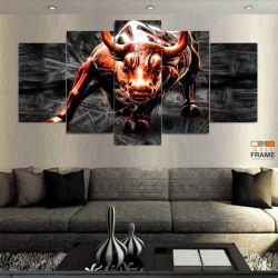 Quadro Decorativo Touro De Wall Street Dólar 130x63 cm Em Tecido