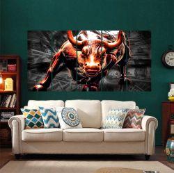 Quadro Decorativo Touro De Wall Street Dólar 140x65 em tecido