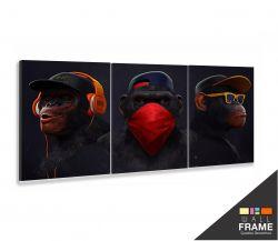 Quadro Decorativo Gangue dos 3 Macacos 120x60 em tecido 3 peças