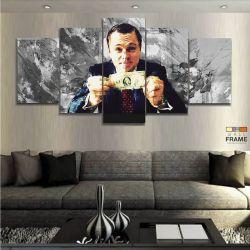 Quadro Decorativo Lobo Wall Street Dólar Moderno 130x63 em tecido