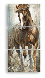 Quadro Decorativo Cavalo Marrom 120x60 3 peças lindo!!
