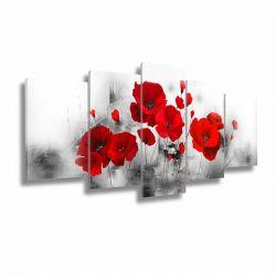Quadro Decorativo Flores Vermelhas 130x63 em tecido Lindo!!!